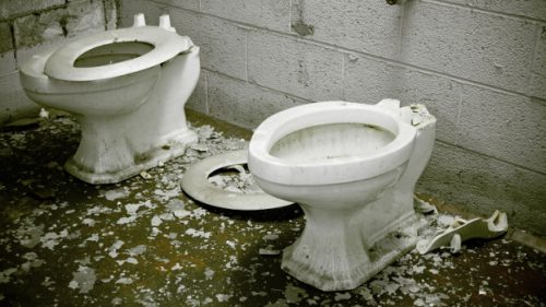Old toilets can be crushed and used to make pathways