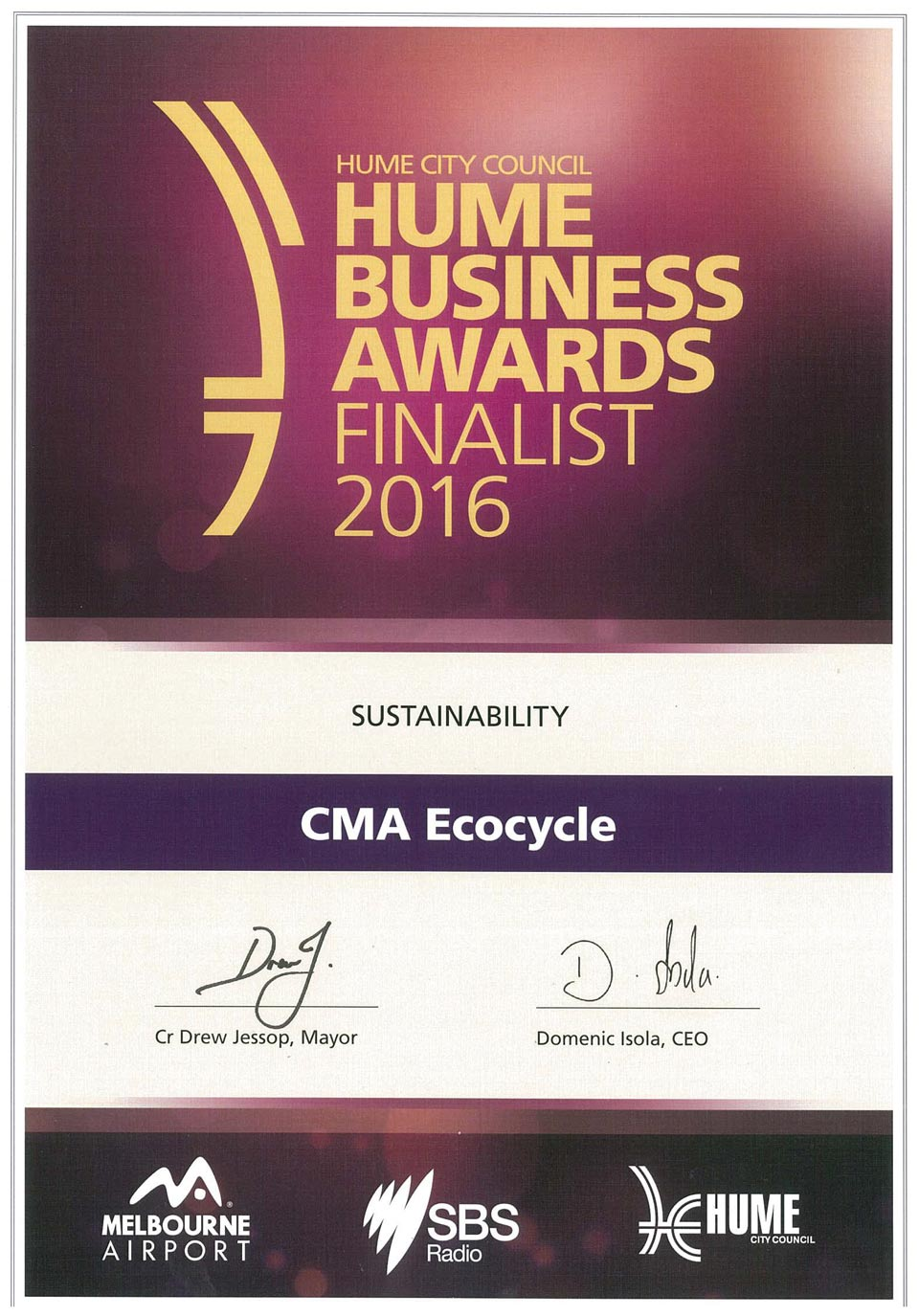 Hume-Business-Finalist-certificate