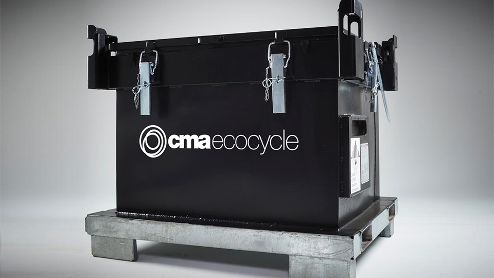 CMA Ecocycle's degraded battery collection and storage container