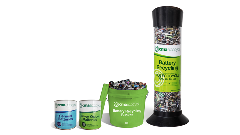 Battery recycling buckets available from Ecocycle